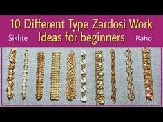 Hand Embroidery For Beginners Sikhte Raho: 10 Different Type Zardosi Work Ideas for Beginners Embroidery Neck Designs, Basic Embroidery Stitches, Hand Embroidery Videos, Embroidery Stitches Tutorial, Embroidery On Clothes, Embroidery Flowers Pattern, Embroidery Works, Embroidery For Beginners, Embroidery Techniques