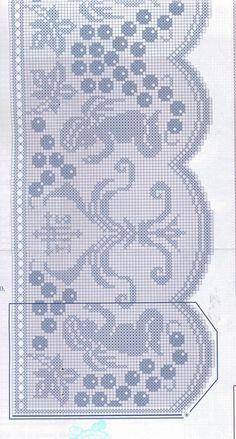"Photo from album ""Muestras y Motivos on Yandex. Filet Crochet, Crochet Borders, Knit Crochet, Embroidery Patterns, Knitting Patterns, Crochet Patterns, Catholic Crafts, Crochet Angels, Crochet Curtains"