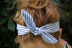 Striped Bow Headband  Fabric Headband  Hair by FlosCaeli on Etsy, $10.00