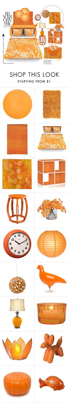 """Sunshine Orange Bedroom"" by dop37 ❤ liked on Polyvore featuring interior, interiors, interior design, home, home decor, interior decorating, Kassatex, Pantone Universe, Kess InHouse and Sara Post"