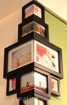 Corner photo frames.   (Hummm, neat idea, but uncertain on photos wrapping around the corner.  The frames could meet up on the edge, but think the frames still might be best if they met in the corner but that each wall had its own photo frame.