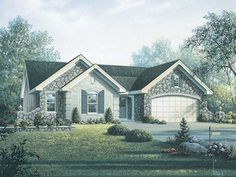 Plan #22310: 4 bedroom, 2 bath house plan with 2-car garage. French country style, 1 story | HousePlansPlus.com