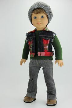 Handmade 18 inch doll clothes - Boy red plaid 4 piece vest outfit by DolliciousClothes on Etsy Bitty Baby Clothes, Boy Doll Clothes, Green Flannel, Red Plaid, American Boy Doll, 18 Inch Boy Doll, Stretch Denim Fabric, Vest Outfits, Ag Dolls