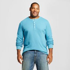 Men's Big & Tall Long Sleeve Thermal Henley Light Blue Xxl - Merona, Size: Xxl Tall