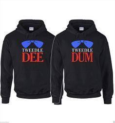 Couple Matching tweedle dee & tweedle dum 2 sweatshirts hoodies on Etsy, $47.99 @Angela DC Mraz