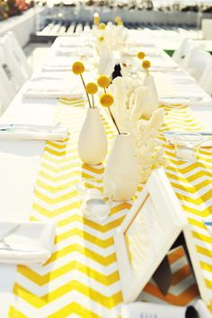 Yellow Chevrons, Billy Balls, Gorgeous Blue Water- the most cheerful destination wedding ever!