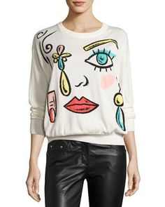 BOUTIQUE MOSCHINO FANTASY-PRINT CREWNECK SWEATER, WHITE. #boutiquemoschino #cloth #