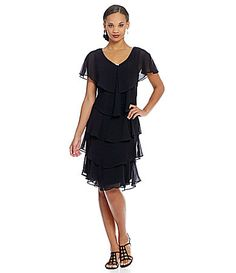 SL Fashions Georgette Tiered Capelet Dress #Dillards