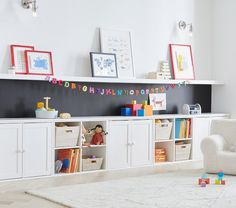 Toy Room Storage, Kids Storage Furniture, Wall Storage, Kids Playroom Furniture, Baby Toy Storage, Playroom Design, Playroom Decor, Playroom Ideas, Colorful Playroom