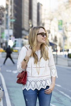 White Eyelet Lace Top - Grace Atwood, The Stripe
