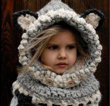 2016 Moda Invierno Cálido Sombrero Bufanda de Lana Gorro de lana Lindo Bebé Niña Con Capucha Bufanda Beanie Sombreros ZJ-AHT238(China (Mainland))
