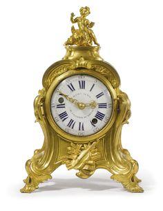 A LOUIS XV ORMOLU MANTEL CLOCKcirca 1750, the dial signed Julien Le Roy au Gallerie du Louvre, the movement signed Julien Le Roy a Paris
