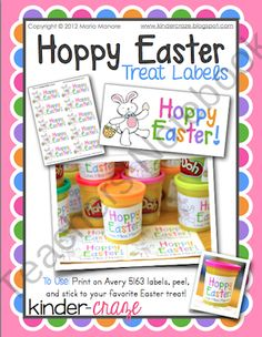 Hoppy Easter Labels for Class Treats from Kinder Craze on TeachersNotebook.com (1 page)  - Cute printable labels for class Easter  treats... formatted to print on Avery 5163 shipping labels for ease of use!