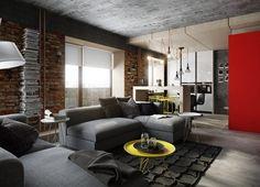 Férfias, markáns tetőtéri lakás két szinten - loft lakberendezés érdekes részletekkel
