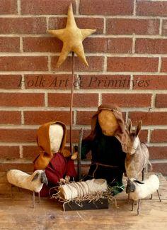 Primitive Large Scale Nativity Set ~~ Joseph, Mary, Star make~do, sheep and donkey ~~ Rustic Prim Christmas Display