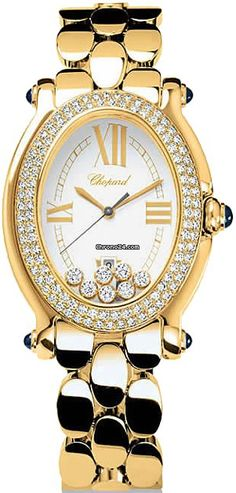 Chopard Happy Sport Oval 277079-0002 $30,495 luxury style chronograph yellow gold case with yellow gold bracelet and quartz movement