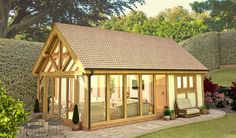 Amazing Architecture, Architecture Details, Timber Frame Garage, Gable Window, Oak Framed Extensions, Garden Room Extensions, Oak Framed Buildings, Oak Frame House, Pool House Plans