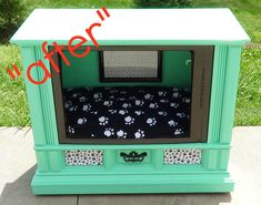 What a cool idea...Refurbished Recycled Furniture, dyi tv console turned dog bed