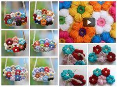 Watch The Video Splendid Crochet a Puff Flower Ideas. Phenomenal Crochet a Puff Flower Ideas. Crochet Puff Flower, Crochet Flowers, Crochet Gifts, Diy Crochet, Crochet Ideas, Flower Bag, Easy Crafts, Crochet Necklace, Knitting