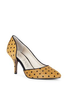 Dotted haircalf mid heel pump with a curvy half d'Orsay silhouette