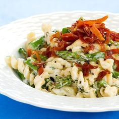 Creamy Pasta With Asparagus, Parmesan, and Crispy Prosciutto...I'd probably use broccolini instead.