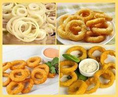 Domáce cibuľové krúžky | Báječné recepty Fried Onions, Onion Rings, Party Snacks, Creative Food, No Cook Meals, Side Dishes, Good Food, Easy Meals, Food And Drink
