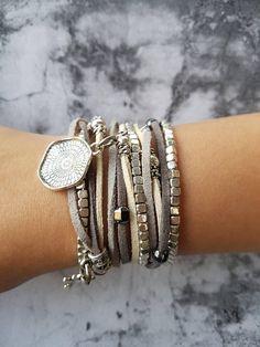 Silver Ethnic Leather Wrap Bracelet, Boho Long Leather Beaded Bracelet, Women's Layered Bracelet – necklace, Bridesmaid personalized-jewelry Boho Necklace, Boho Jewelry, Silver Jewelry, Jewelry Accessories, Handmade Jewelry, Jewelry Design, Silver Ring, Vintage Jewellery, Antique Jewelry