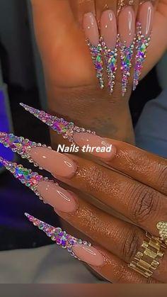 Drip Nails, Bling Acrylic Nails, Summer Acrylic Nails, Best Acrylic Nails, Bling Nails, Glitter Nails, Dope Nail Designs, Cute Acrylic Nail Designs, Long Square Acrylic Nails