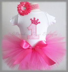 Pink 1st Birthday Tutu Outfit With by RainbowKissesBoutiqu on Etsy, $35.00