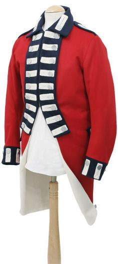 CT5524 British Tailcoat c 1789  Collectors Quality only made from finest Hainsworth wools with cotton linings where appropriate, example illustrated is one of a large number we made for the Gibraltar Tourist Board and has silver lace bastions, any regimental requirements can be altered to suit your own specification.