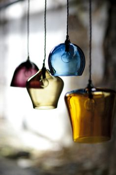 Curiousa and Curiousa Hand-blown Glass Pendant Light; they look like wine glasses Kitchen Pendant Lighting, Kitchen Pendants, Glass Kitchen, Glass Pendants, Pendant Lamps, Ceiling Pendant, Gold Pendants, Island Pendants, Kitchen Sink