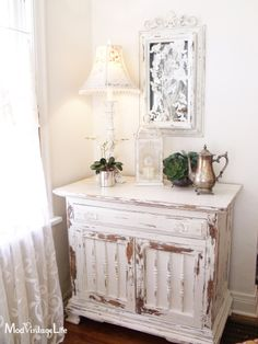 Mod Vintage Life: Painted White Cabinet in MMSMP Ironstone