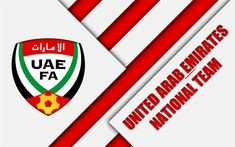 Download wallpapers United Arab Emirates football national team, 4k, emblem, Asia, material design, white red abstraction, UAE Football Association, logo, United Arab Emirates, football, coat of arms, UAE