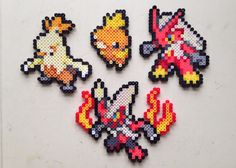 Torchic | Combusken | Blaziken | Mega Blaziken | Pokemon perler beads by MIZGVUSdesigns