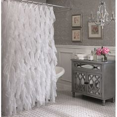 Ben and Jonah Royal Bath Cascading Waterfall Shower Curtain Color: White
