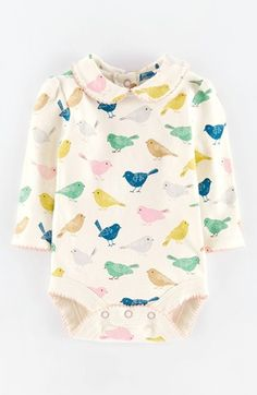 Mini Boden 'Pretty' Collar Bodysuit (Baby Girls)   Nordstrom