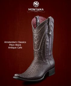 #Montana #Botas #AmsterdamClassics #Piton Black #Modelo AM103PY #Color Antique Gris #MontanaisBack