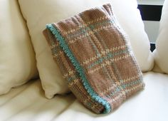 Color inspiration ::  *Knitted* plaid baby blanket in warm brown, soft turquoise, & buff  #crochet #afghan #throw