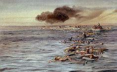 Fast 1200 Menschen gehen mit dem Schiff unter. (Bild: Zeitgenössische Zeichnung der Situation an der Untergangsstelle kurz nach dem Untergang der Lusitania.)