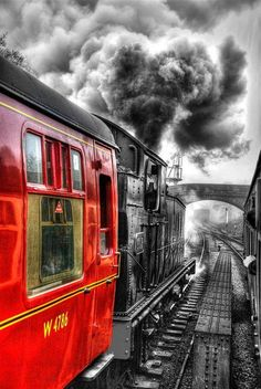 North Yorkshire Moors Railway, UK I pinned this post, because I've always love trains and most all types of locomotive. By Train, Train Tracks, Train Art, Old Trains, Vintage Trains, Photos Voyages, Steam Locomotive, North Yorkshire, Belle Photo