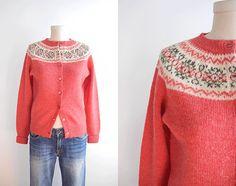 Vintage Shetland Fair Isle Cardigan / Wool by zestvintage Fair Isle Chart, Fair Isle Pattern, Vintage Sweaters, Wool Sweaters, Fair Isle Pullover, Shetland Wool, Fair Isle Knitting, Knitting Patterns, Sweater Patterns