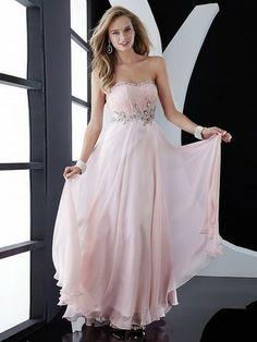 (FITS0257785)2013 Style A-line Strapless Beading  Sleeveless Floor-length Chiffon Prom Dresses / Evening Dresses