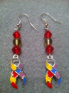 Autism Awareness Charm Bead Earrings by houston4 on Etsy, $6.00