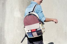 手工棉麻拼接設計後背包 / 民族風肩背包 / 登山包 / 旅行包 - 手織布拼接沙漠色公路旅行風 ( 限量一件 )