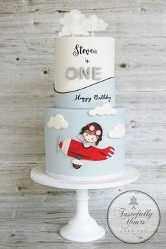 Tastefully Yours Cake Art - Kuchen Ideen Airplane Birthday Cakes, Airplane Cakes, Airplane Baby Shower Cake, Airplane Party, Cakes Originales, Baby First Birthday Cake, Birthday Cake Kids Boys, Birthday Ideas, Birthday Cupcakes