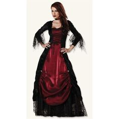 GOTHIC VAMPIRA COSTUME ($100) ❤ liked on Polyvore featuring costumes, gothic vampiress costume, gothic costumes, gothic vampire costume, vampira costume and red costumes