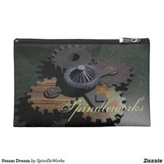 Steam Dream Travel Accessories Bags - $44.30 - Steam Dream Travel Accessories Bags - by #RGebbiePhoto @ #zazzle - #Cogs #Gears #Spindle - SpindleWorks in a distressed script text, change to your name or text. Four cogs under a center piece, connected and able to move. 3D model illustration.