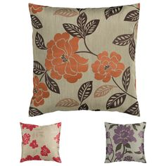 Lend a touch of garden-inspired romance to your space with this floral accent pillow. This handsome accent pillow features brilliant orange blossoms and verdant foliage on a neutral field of tan to add a naturally stylish look to your sofa or bed.