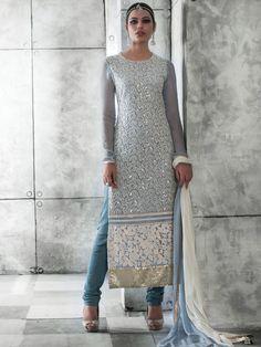 Sky Blue Net Pakistani Style Suit 58704