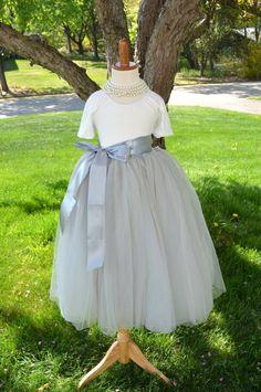 Girls Gray Long Tulle Skirt Tutu - maidenlaneboutique